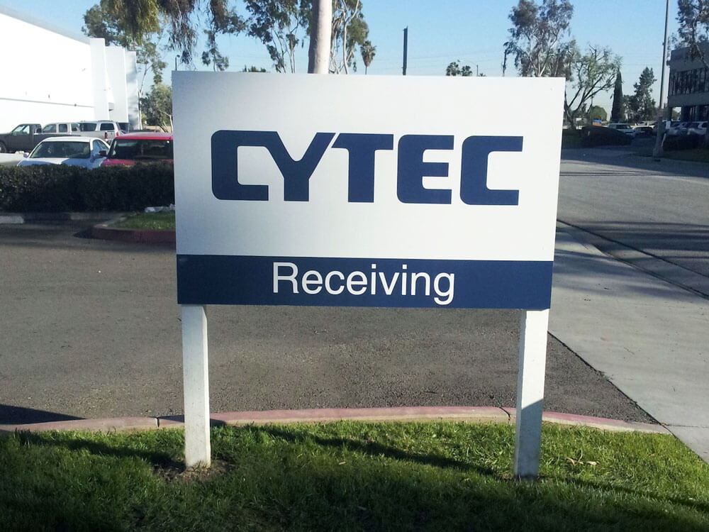 Way-finding directional sign for Cytec by America's Instant Signs