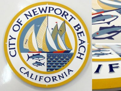 City-of-Newport-Beach-Cast-Aluminum-with-Giclee-Print