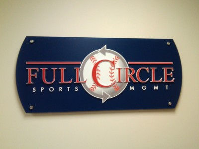 Full-Circle-Sports-Mgmt-Non-glare-clear-acrylic-panel-with-dimensional-acrylic-letters-2