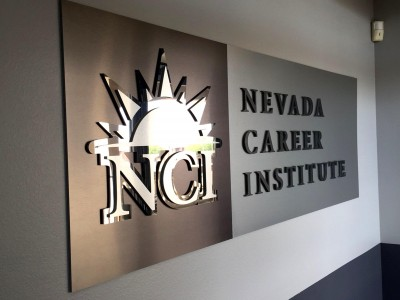 Nevada-Career-Institute-Mixed-Metal-Laminate-Logo-Panel