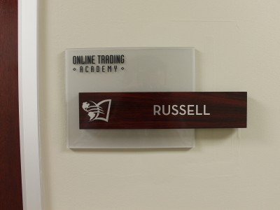 Online-Trading-Academy-custom-suite-sign-with-frosted-acrylic-and-wood-laminate-insert