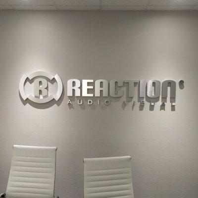 Reaction Metal laminate lobby sign