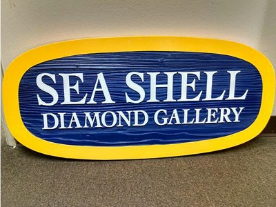 Sea-Shell-Diamond-Gallery-Sandblasted-Redwood-Sign