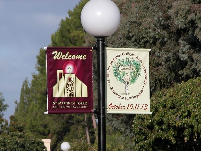 Outdoor signs on a pole