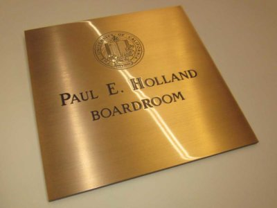 Paul E. Holland Boardroom Etched Brass Plaque from America's Instant Signs