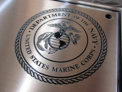 United States Marine Corps Etched Brass Plaque from America's Instant Signs