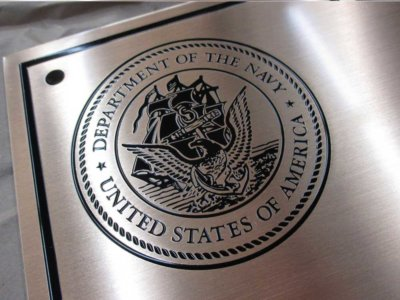 Department of the Navy Etched Brass Plaque from America's Instant Signs