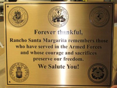 Rancho Santa Margarita Etched Brass Plaque from America's Instant Signs
