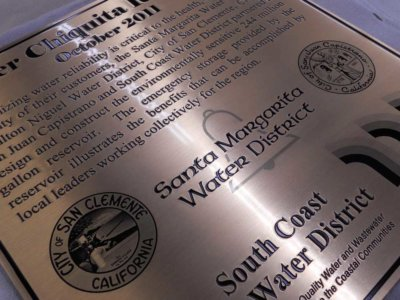 Santa Margarita Water District Plaque from America's Instant Signs