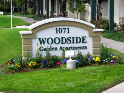 Woodside Garden Apartments Monument Sign - Pre-Fabricated Foam Monument Signs from America's Instant Signs